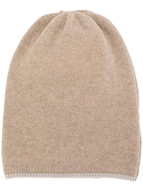 beanie knit brown hat