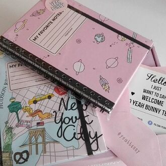 home accessory yeah bunny pastel pink cute notebook