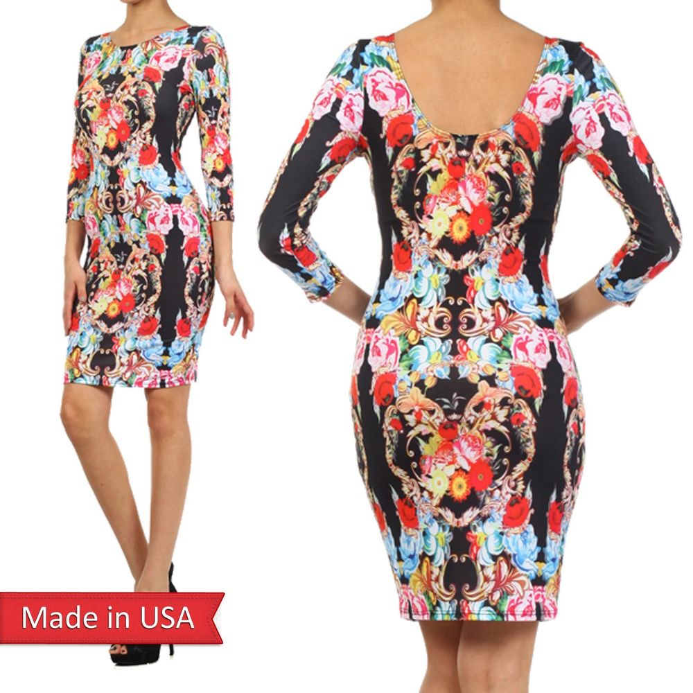 Women sexy bodycon fitted color floral flower sublimation print mini dress usa