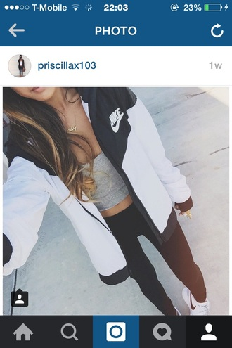 jacket nike jacket black and white