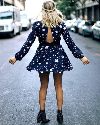 dress sexy dress open back open back dresses backless backless dress long sleeves long sleeve dress stars mini dress sexy boots ankle boots