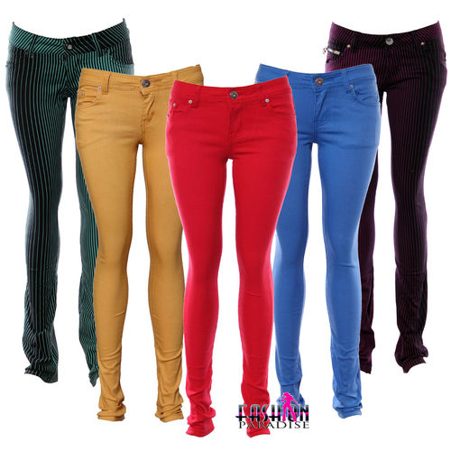 NEW LADIES WOMENS COLOURED SKINNY FIT DENIM JEANS STRETCHY SIZE 6 8 10 TP 18 | Amazing Shoes UK