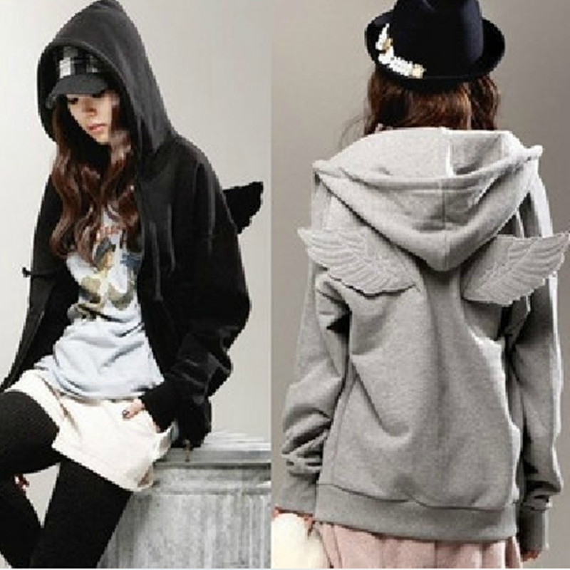 2014 new women girls angel wings hoodie jacket sweatshirt hooded coat outerwear tops free shipping