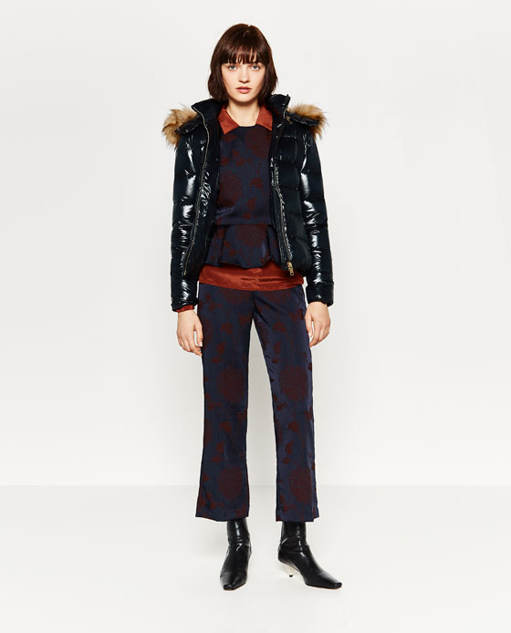 SHINY QUILTED FEATHER DOWN COAT - Puffers-OUTERWEAR-WOMAN | ZARA ...