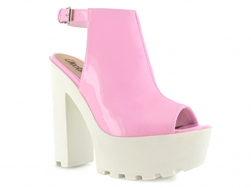 PINK CLEATED  SOLE HIGH CHUNKY PEEP TOE ANKLE STRAP SANDAL - Chockers Shoes