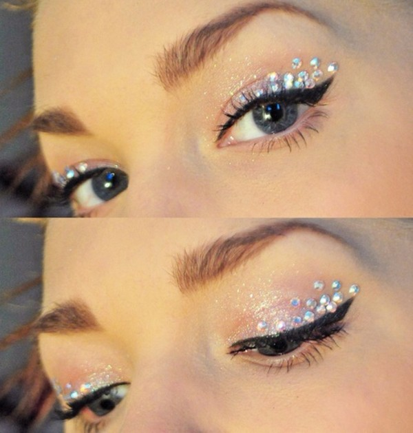 eye makeup diamontes perfect sparkle eye shadow make-up glitter silver naked eyeshadow rhinestones holographic