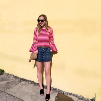 miami + dallas based lifestyle and fashion blog blogger top skirt belt bag sunglasses spring striped shirt denim skirt button up denim skirt leopard print gucci bag mules celine celine sunglasses