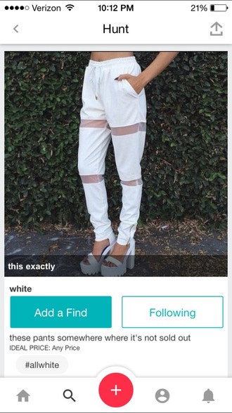 pants sheer white