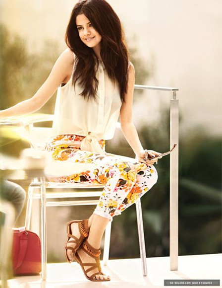 selena gomez jeans blouse see through light beige