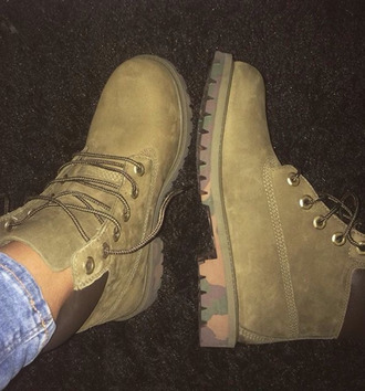 shoes army green timberlands