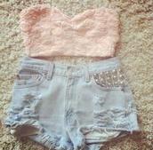t-shirt,topcrop top,top,short shorts