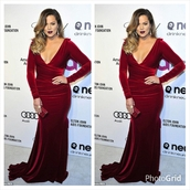 dress,fashion,stylish,designer,long evening dress,evening dress,khloe kardashian,red dress,prom dress,long dress,long prom dress,red velvet dress,long sleeve dress,velvet dress