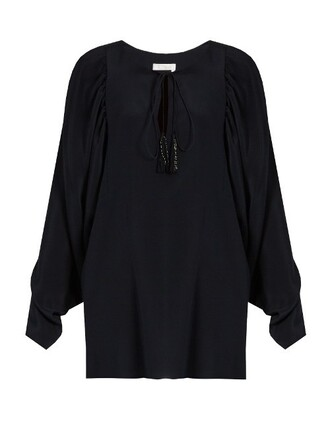 blouse silk navy top