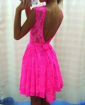 dress,neon,pink,cute,sleeveless,open back,neon pink,lace,lace dress,pretty,summer,summer dress,hot pink,see through,hot pink dress,low back dress,backless,floral,cute dress,pink dress