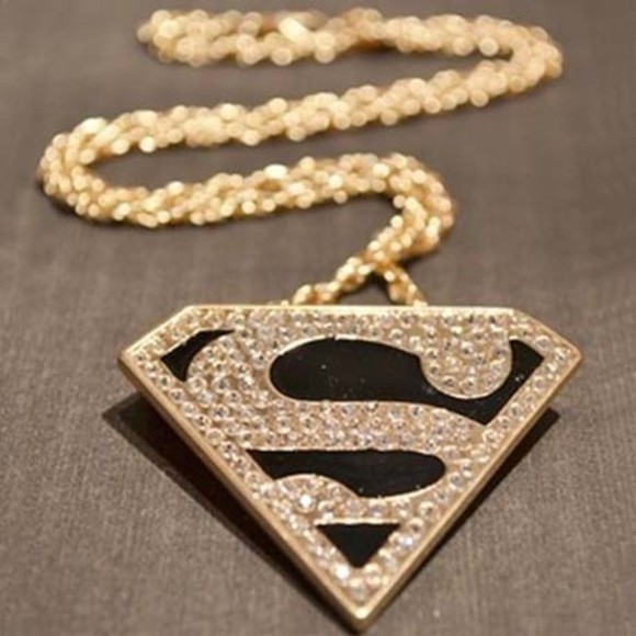 superman jewels super hero necklace gold gold, chain, necklace jewelry fashion clothes accessories