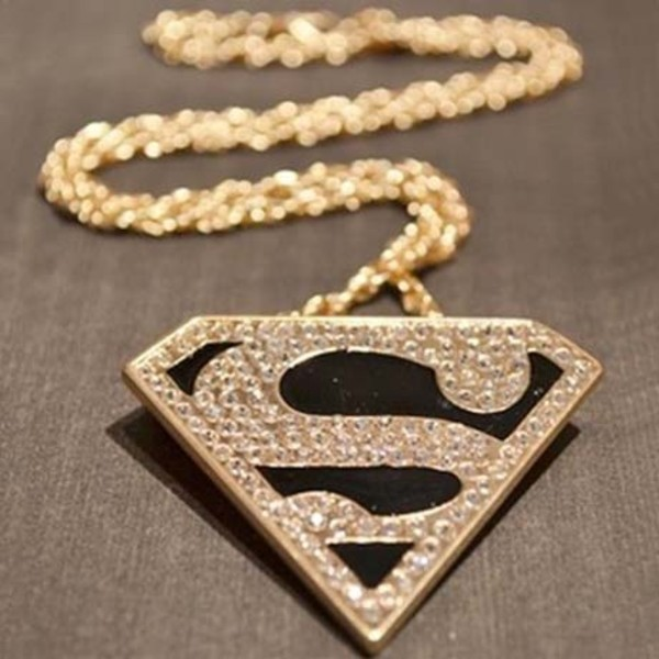jewels superman superheroes necklace gold jewelry fashion clothes accessories