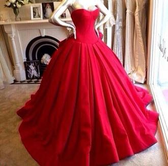 dress red dress long dress strapless dress prom gown