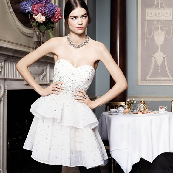 dress princess prom dress white dress 2014 prom dresses sparkle jewelry fashion