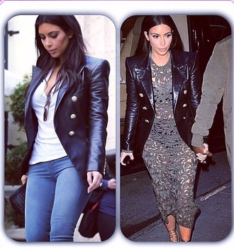 jacket kim k kim kardashian leather jacket