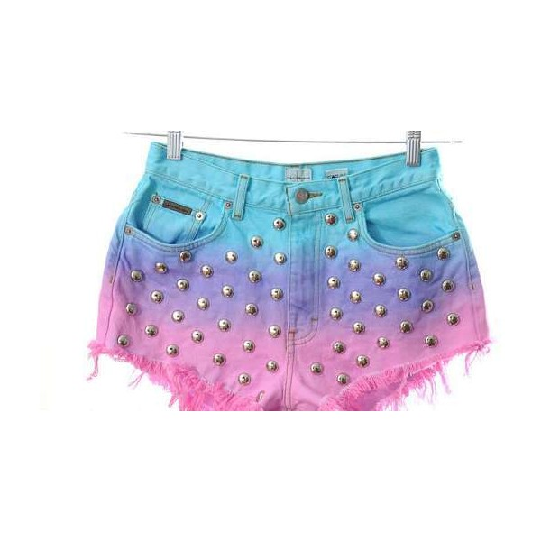 Punk Pastel Shorts The Kaleidoscope Eyes Ombre Shorts are In... - Polyvore
