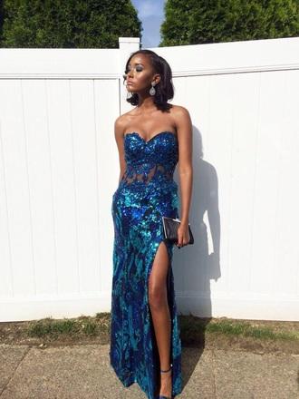 dress blue prom dress sparkily