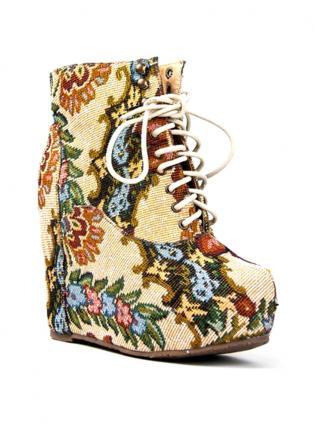 Multi Wedges - Vintage Style Floral Pattern Booties | UsTrendy