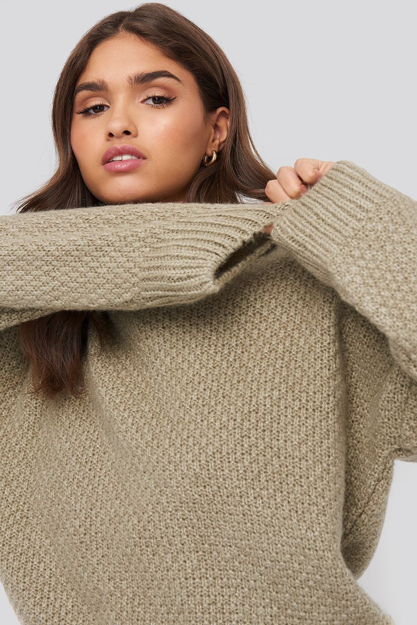 Oversize Knitted Polo Sweater