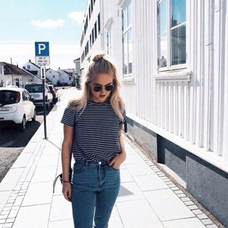jeans t-shirt grunge hipster stripes black and white cute shirt blue white stripped white t-shirt striped shirt