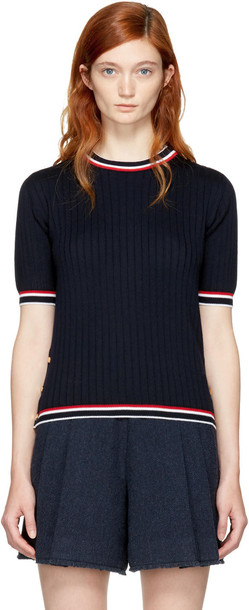 pullover short navy sweater