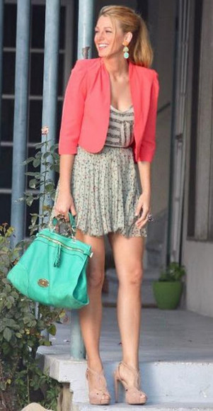 jacket skirt jewels shoes serena van der woodsen bag top