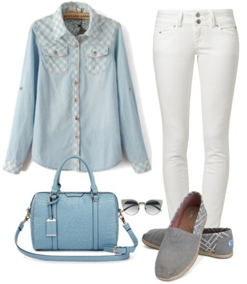 white clothes blouse fashion jeans shoes follow followme collection ootd handbag outfit