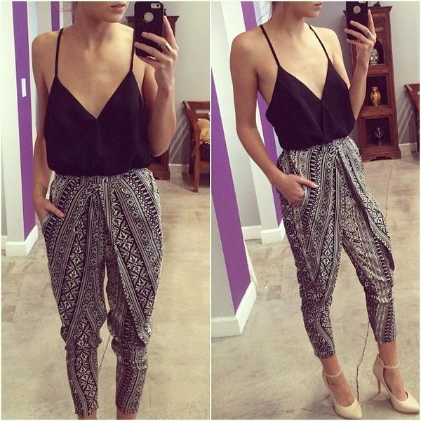 pants black and white print pants clothes blouse