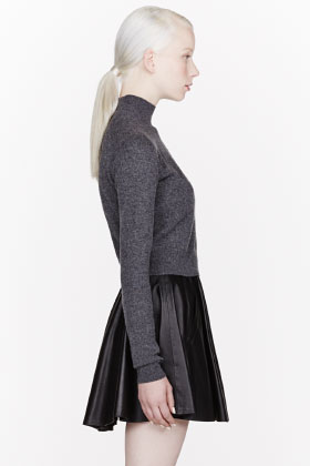 T By Alexander Wang Grey Merino Blend Cropped Turtleneck for women | SSENSE