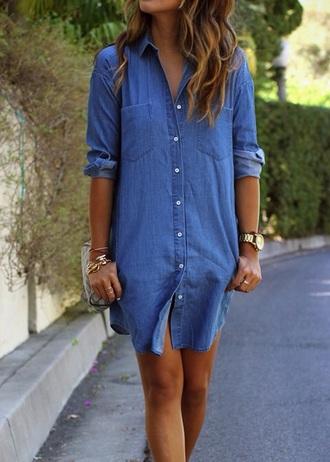 dress denim denim dress casual casual dress shirt dress fashion instagram pinterest girl girly girly wishlist
