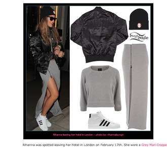 skirt grey jumper rihanna jacket shoes hat celebrity style long skirt zipped skirt sunglasses adidas adidas shoes adidas superstars