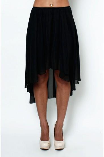 LoveMelrose.com From Harry & Molly | Sheer high low cascade hem skirt BLACK from Love melrose - SKIRTS - BOTTOMS
