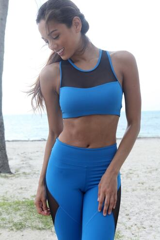 top sports bra black blue equilibrium activewear bikiniluxe