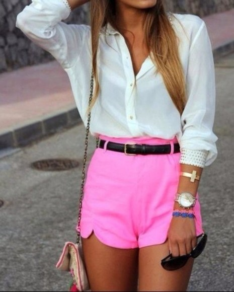 shorts shirt pink fashion high-wasted denim shorts high waisted short chukin pink shoking pink fab