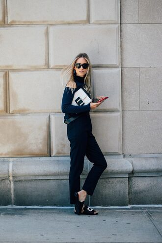 pants blue pants tumblr sweater blue sweater shoes slide shoes black shoes sunglasses bag streetstyle