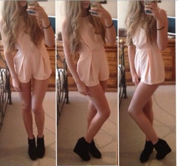 Dress: romper, pink, blush, light pink, jumpsuit, romper, shoes ...