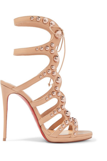 Christian Louboutin - Amazoubille 120 Studded Leather Sandals - Neutral