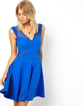 ASOS | ASOS Skater Dress With Mesh Inserts at ASOS