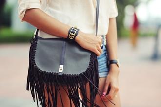preppy fashionist blogger fringed bag leather bag black bag shoes bag