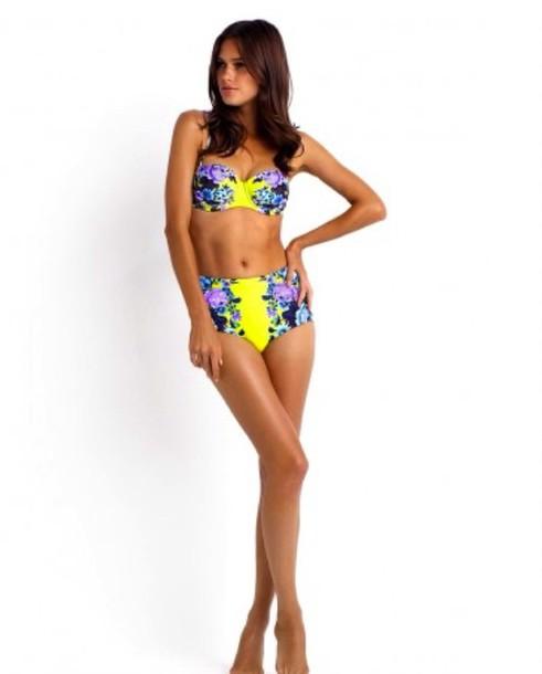 swimwear yellow bikini high waisted high waisted bikini