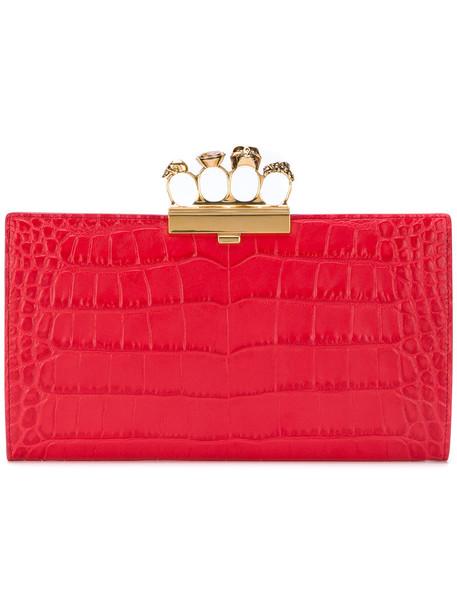 Alexander Mcqueen women clutch leather crocodile red bag