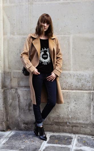 blogger black heels into your closet camel coat paris