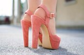 shoes,heels,pink,salmon shoes,faux suede,high heels,coral shoes,pink high heels,wedges,fashion,colorful,pastel,light pink,rose gold,platform shoes,thick heel,coral,shoes pink,pink heels,summer shoes,sandals,velvet,golden buckle,weheartit,peach,pink shoes,girl,beautiful