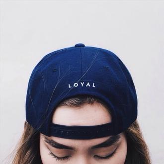 hat loyal snapback black white black and white tumblr grunge kawaii dark typography trendy fashion cute nike cap blue navy quote on it eyebrows