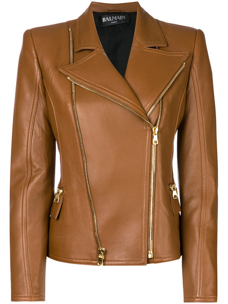 Balmain jacket biker jacket women cotton brown