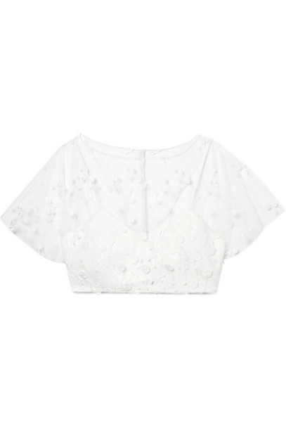Rime Arodaky top embroidered cropped white